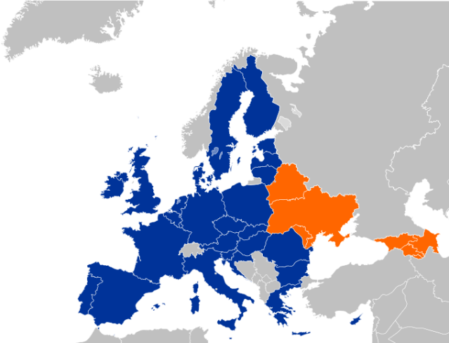 Map of the EU and the Eastern Partnership States