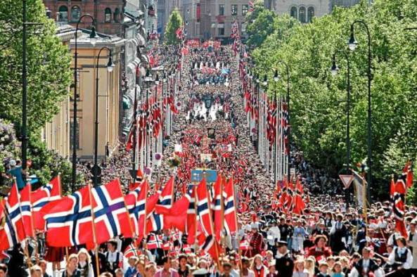 Norwegians celebrating their Constitution Day in Oslo - source: thornews.com