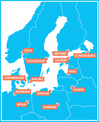 ONE BSR map - courtesy of 1 Baltic Sea Region project